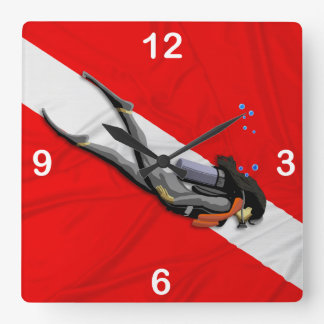 Diver And Wrinkled Dive Flag Wall Clock