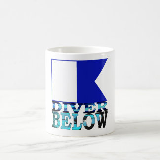 diver below blue coffee mug