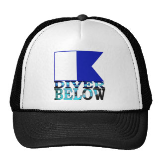 diver below blue trucker hat
