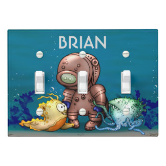 DIVER CARTOON LIGHT SWITCH  Triple Toggle