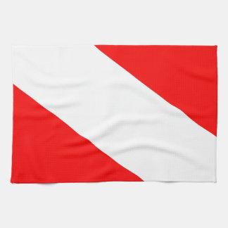 Diver down flag kitchen towel