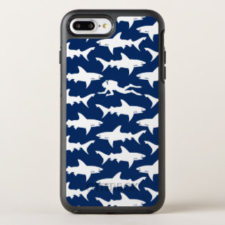 Diver swiming in a school of sharks blue and white OtterBox symmetry iPhone 8 plus/7 plus case