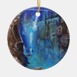 Diver, under water, ravine, ocean, rock ceramic ornament