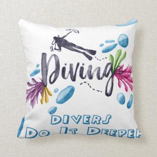 divers do it deeper throw pillow