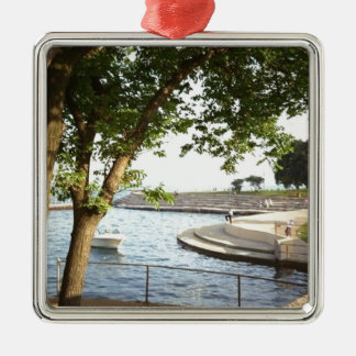 Diversey Harbor Chicago Lakefront 1970's Metal Ornament