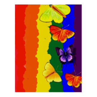 Diversity celebration with rainbow colours postcard