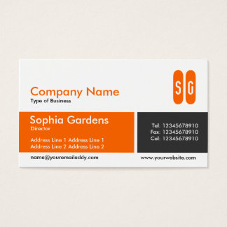 Divided Band - Orange and Dark Gray - Initials Business Card