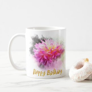 Divine Dahlia Happy Birthday Coffee Mug