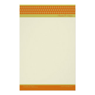 Divine Diamonds (tangerine) Customized Stationery