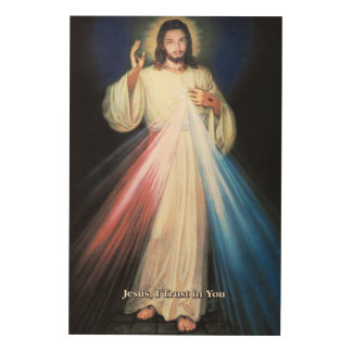 Divine Mercy Devotional Image. Wood Wall Decor