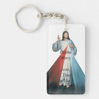 Divine Mercy Jeus, I Trust In You ! Double-Sided Rectangular Acrylic Keychain