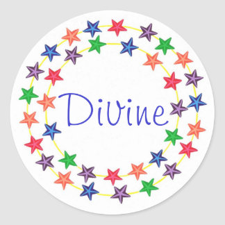 Divine, stickers with colorful stars