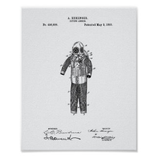 Diving Armor 1893 Patent Art White Paper Poster