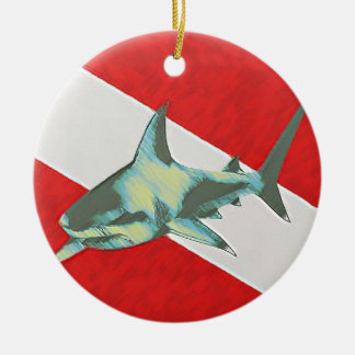 diving flag shark ceramic ornament