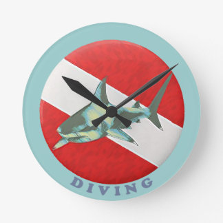 diving flag shark wallclocks