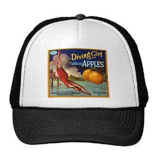 Diving Girl Apples - Vintage Fruit Crate Label Mesh Hat