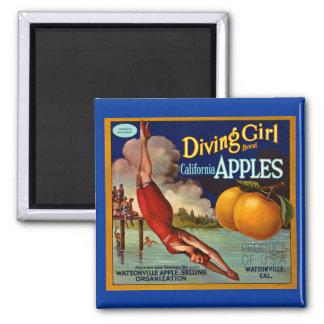 Diving Girl Apples Vintage Fruit Crate Label Magnet