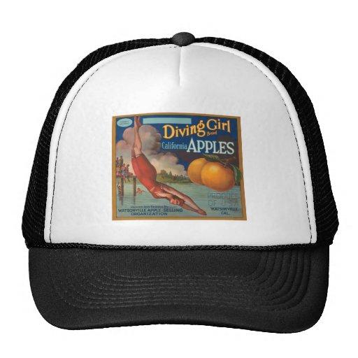 Diving Girl Brand California Apples Fruit Crate La Mesh Hats