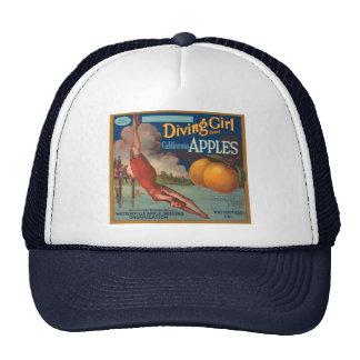 Diving Girl California Apples Mesh Hat