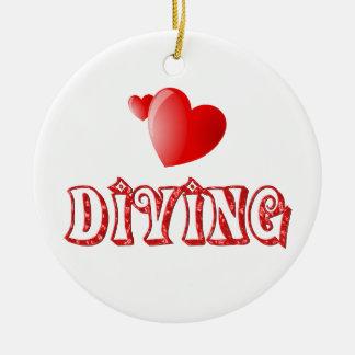 Diving Hearts Ceramic Ornament