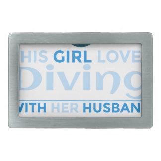 diving_husband rectangular belt buckle