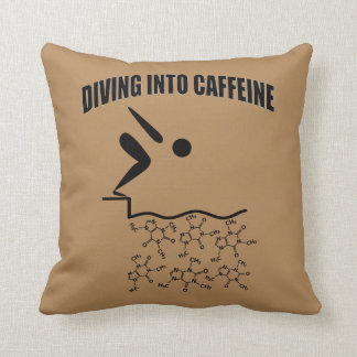Diving Into Caffeine Brown Version Throw Pillow