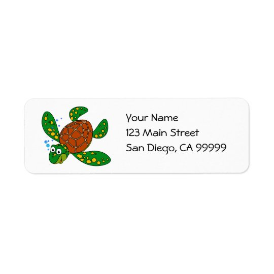 Diving Sea Turtle Return Address Label