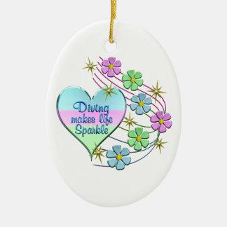 Diving Sparkles Ceramic Ornament