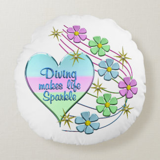 Diving Sparkles Round Pillow