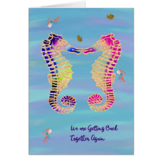 Divorce Reconciliation with Illustrated Seahorses Card
