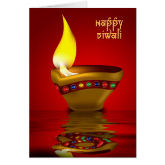 Diwali Diya - Oil lamp illustration Card