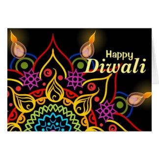 Diwali flower Rangoli with bright oil lamps Card