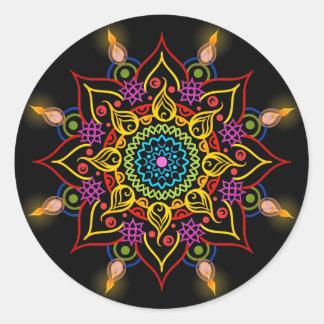 Diwali flower Rangoli with oil lamps Round Sticker