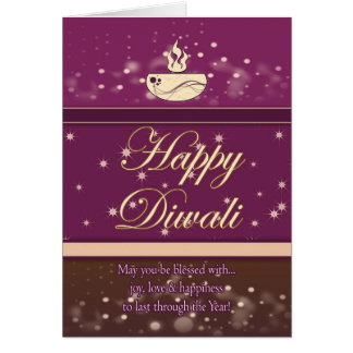 Diwali Greeting Card With Lamp - Happy Diwali