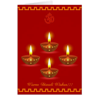 Diwali Greetings with Decorative Glowing Lamps Card