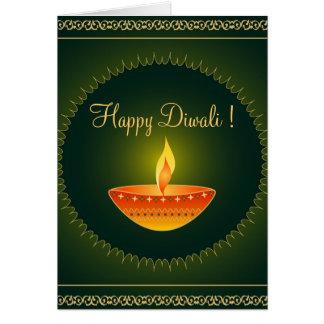 Diwali lamp on green - Card