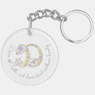 Dixie monogram D name and meaning keyring
