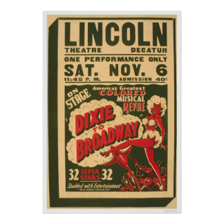 Dixie To Broadway 1937 WPA Poster