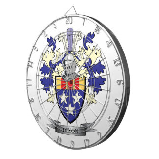 Dixon Family Crest Coat of Arms Dart Board