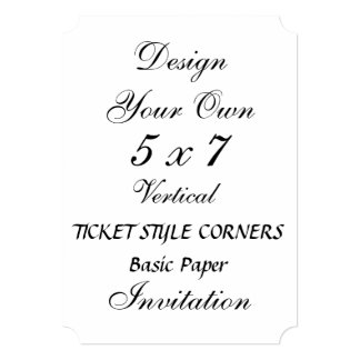 DIY 5 x 7 TICKET STYLE CORNERS Basic Paper Personalized Announcement