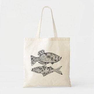 DIY adult coloring in black line art fish Tote Bag