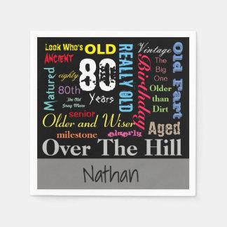 DIY Age | 80th Happy Birthday | Milestone Paper Napkin