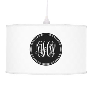 DIY Background, Black Vine Script Monogram Pendant Lamp