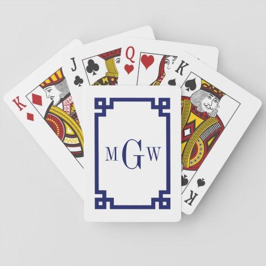 DIY Background Greek Key Navy Blue Framed #2 3I Poker Deck