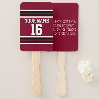 DIY BG Burgundy Black Team Jersey Number Name Hand Fan