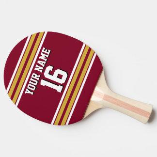 DIY BG Burgundy Gold Team Jersey Custm Number Name Ping-Pong Paddle