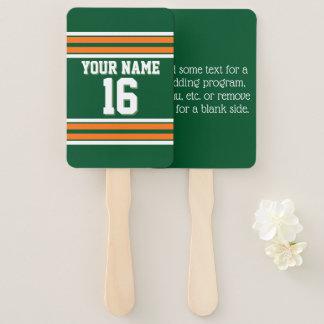 DIY BG Forest Green Orange Team Jersey Number Name Hand Fan