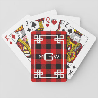 DIY BG Greek Key Buffalo Plaid 3I Red Playing Cards