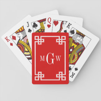 DIY BG Greek Key Fancy White Framed 3I Red Poker Deck