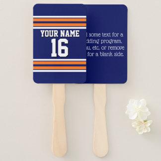 DIY BG Navy Orange Team Jersey Custom Number Name Hand Fan
